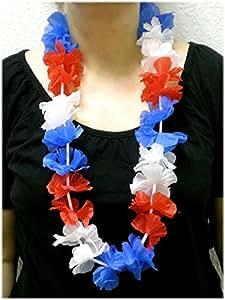 Blumenkette / Hawaiikette / Halskette – rot-weiß-blau (Frankreich, Niederlande, Russland, Kuba, USA, Tschechien, Slowakei, Slowenien, …) – Umfang zirka 100cm (1m)