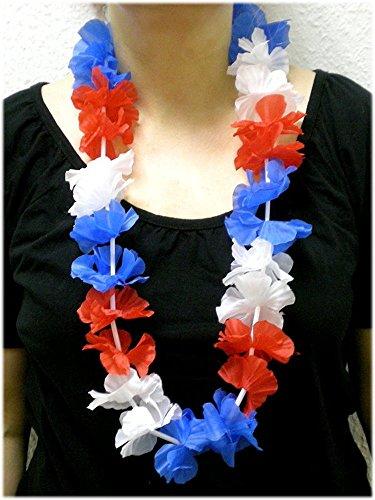 Blumenkette / Hawaiikette / Halskette - rot-weiß-blau (Frankreich, Niederlande, Russland, Kuba, USA, Tschechien, Slowakei, Slowenien, ...) - Umfang zirka 100cm (1m)