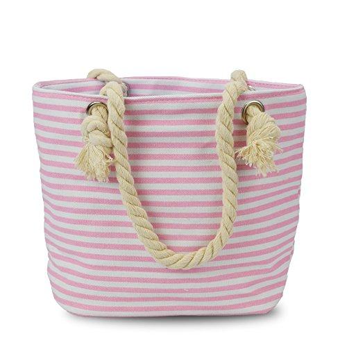 Sonia Originelli XS Shopper Fehmarn Shopper Tasche Koordinaten Farbe Rosa-Marine Rosa-Marine