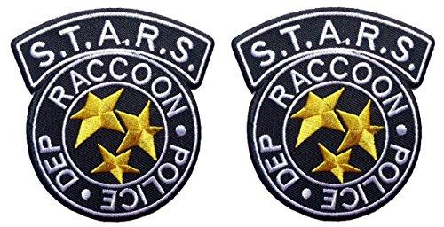 Preisvergleich Produktbild Unbekannt Klettverschluss Set of 2 Resident Evil S.T.A.R.S. Raccoon Police Black costume Logo Aufnäher Patch