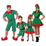 Xingsiyue Weihnachtself Kostüm Set, Unisex Erwachsene Kinder Baby Weihnachten Outfits Elfen Kostüm für Karneval Halloween Party
