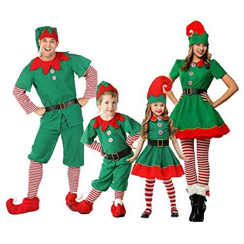 Xingsiyue Weihnachtself Kostüm Set, Unisex Erwachsene Kinder Baby Weihnachten Outfits Elfen Kostüm für Karneval Halloween - Weihnachtself Baby Kostüm