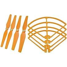 Homyl 4 Piezas Hélices Prop + Marco de Protección Conjunto de Accesorios para Syma X8C X8W X8G X8HW X8HC RC Drones - Naranja