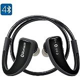 SHOPINNOV Ecouteurs Bluetooth 4.0 pour le sport, Appels, Anti-sueur, Autonomie 5H, Modele Noir