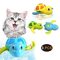 Aidiyapet Cat Toy Wind Up Bath Toys Turtle Bathtub Toys for Eco-Friendly Material 3 Pack