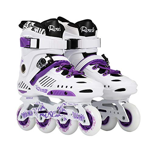 CHEXIAOlbx Damen Inline Roller Skates, Anfänger Flash Rollerblades Adult Professional Fancy Skating Schuhe (weiß, Lila) (Color : White, Size : EU 39) (Skates Roller Flash)