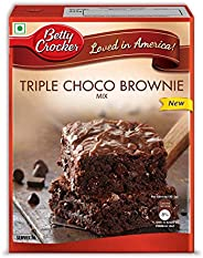 Betty Crocker Triple Chocolate Brownie Cake Mix | Instant Cake Mix Powder | 3 Step Cake Mix | Whisk, Pour &