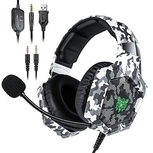 Gaming Headset für PS4 Xbox One mit Mikrofon ONIKUMA Over Ear Stereo Kopfhörer mit Lautstärkeregler und Headset Splitter für PC Nintendo Switch Mac Laptop, Tarnung