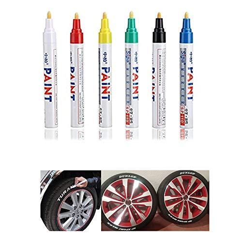 CHUDAN 6 Stück wasserdichte Reifen Stift Reifenmarker Auto, Motorrad Fahrradreifen Treten Marker Pen Permanent Reifenmarkierungsstift füllt Kratzer