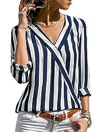 99befac27 Lover-Beauty Camisa Mujer Raya Cuello Redondo Manga Larga Casual Suelto  Blusa Rojo y Top Azul Jersey Stripe Shirt…