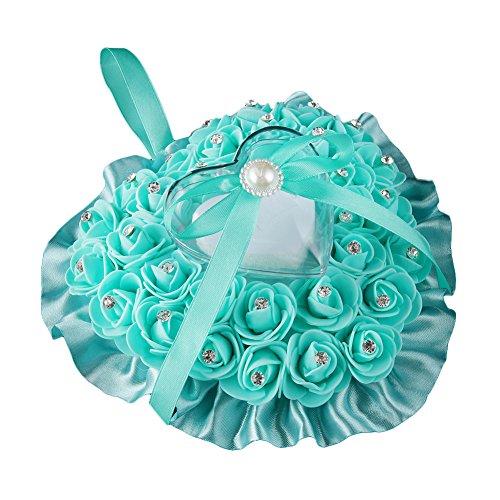 (Steellwingsf Blumen-Schmuckkästchen mit Rosenblüten und Strasssteinen in Herzform, Satin-Schleife, Ringschatulle für Hochzeit blaugrün)