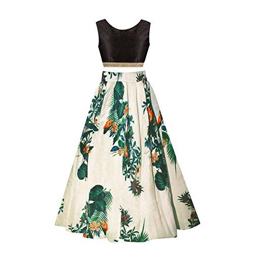 SKY WORLD Girl's Benglori Silk Semi-stitched Lehenga (8-12 Yrs) (World_550)