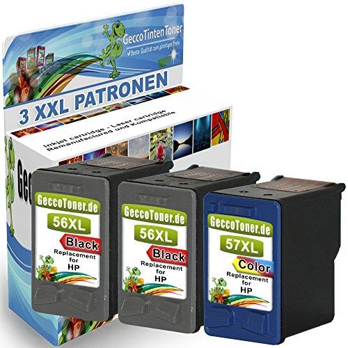 Preisvergleich Produktbild Alaskaprint 3er-Pack Kompatible Tintenpatronen als Ersatz für HP 56 XL + 57 XL (Schwarz , Farbig)