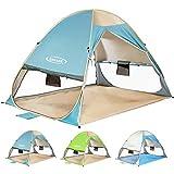 ZOMAKE Tenda da Spiaggia Automatica Pop-up Tenda da Sole Portatile istantanea con Protezione UV, Protezione della Privacy e Ventosa, Tenda per 2-4 Persone per la Spiaggia all'aperto (Lago Blu)