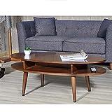 Tische ZR Wandtisch- Ovaler, Couchtisch Aus Holz Wohnzimmer - Doppelter Speicher - Separater Raum -Platz sparen (Farbe : Nussbaum)