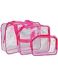 SMARTLADY 3PC / SET Estancas Transparente Bolsas De Viaje Maquillaje Neceser Plegable De Caja PortáTil Organizador