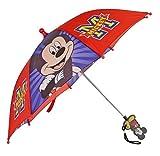 Le giornate di pioggia più emozionanti con questo adorabile Topolino Disney bambino ombrello rosso e blu. Un accessorio di moda speciale. Mickey Mouse carino adorabile timido stampato su pannelli.