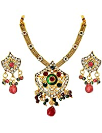 Surat Diamonds Ethnic Red, Green & White Stones & Gold Plated Pendant Necklace & Earring Set With Enamel For Women...