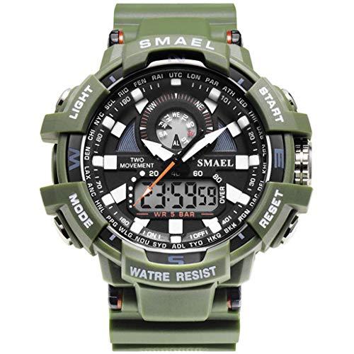 REALIKE Herren Digitale Armbanduhr, Outdoor Laufen wasserdichte Doppelanzeige Uhren, Cool Sport große Anzeige Sportuhr mit LED für Männer Erwachsene Smart Watch Schwarz orange
