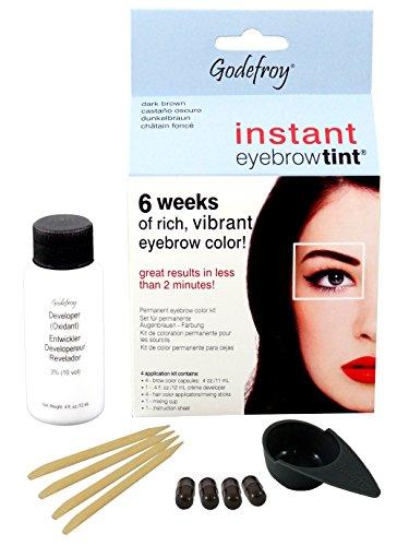 Godefroy Instant Eyebrow Tint, Augenbrauen Färbeset, dunkelbraun, 1er Pack (1 x 4 Stück)