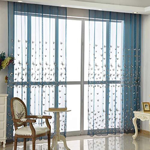 Voile Vorhänge Ösen plissiert zwei Panele Window Treatment für Gardinenstange Modern Wohnzimmer Stoff Gardinen Shades Wohnzimmer,252 * 270/2
