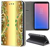 Samsung Galaxy S6 Edge G925 Hülle Premium Smart Einseitig Flipcover Hülle Samsung Galaxy S6 Edge G925 Flip Case Handyhülle Galaxy S6 Edge G925 Motiv (1376 Abstract Smaragd Grün Gold Farben)