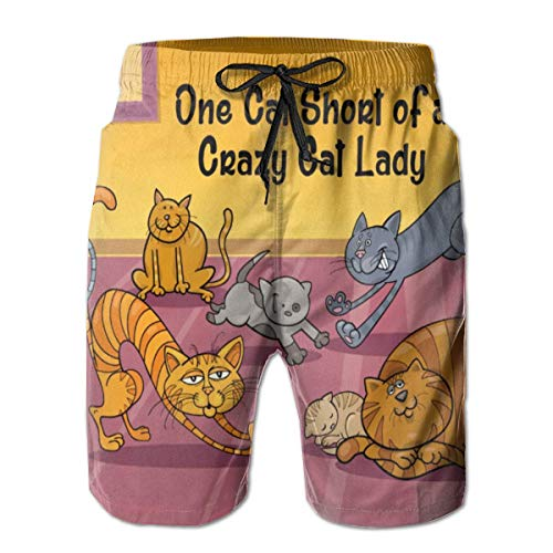 Crazy Cat Lady Shorts (Nacasu Men's Swim Trunks Crazy Cat Lady Casual Sportswear Quick Dry Beach Shorts for Boys Summer M)