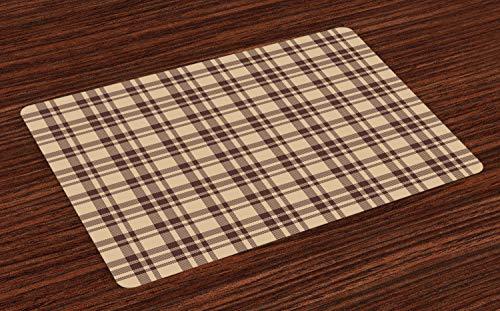 Schottisches Karo-muster (ABAKUHAUS Tan und Braun Platzmatten, Altmodisches Karo-Muster Schottischer Schottenstoff inspirierte geometrisches Design, Tiscjdeco aus Farbfesten Stoff für das Esszimmer und Küch, Braun Tan)
