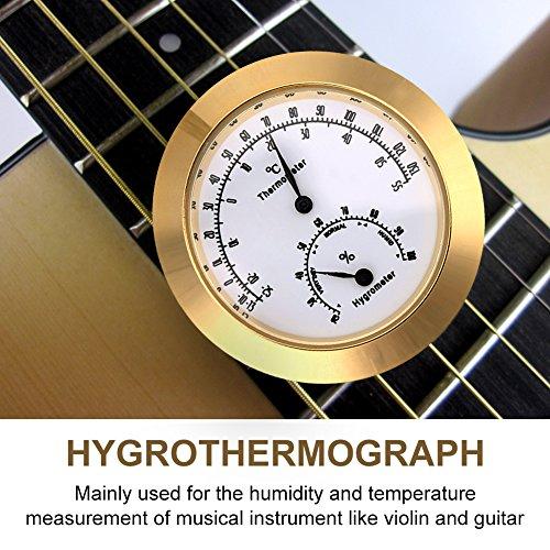Runde Thermometer Hygrometer Indoor/Outdoor Gitarre Violine Thermometer Hygrometer Feuchtigkeit Digitale Luftfeuchtigkeit Temperatur Meter Monitor für Gitarre Violine Fall Teile Golden/Silber(Golden) -