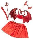 kaiser24 Mädchen Damen Teufel Kostüm rot Set bestehend aus Tutu (Rock), Flügel, Haarreif, Dreizack, Schwanz