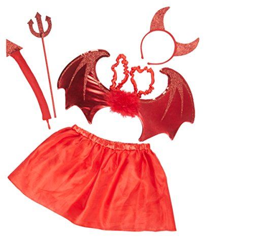 kaiser24 Mädchen Damen Teufel Kostüm rot Set bestehend aus Tutu (Rock), Flügel, Haarreif, Dreizack, - Ein Teufel Kostüm Mädchen