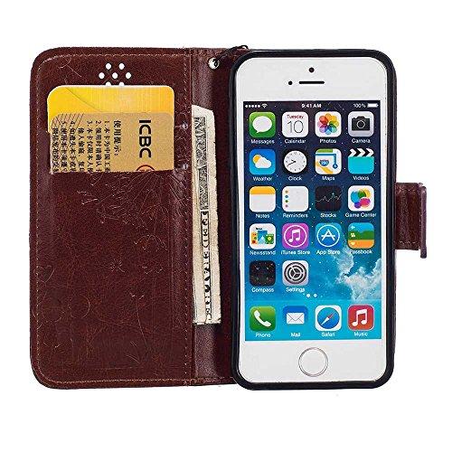 Rabat Style iPhone 5 5S Coque Cuir Portefeuille iPhone SE Case, Les amants et le pissenlit Embossage Motif Belle Mode Housse de Protection Carte Titulaire PU Matériel Flexible - Bleu Marron
