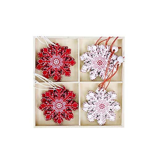 SWIDUUK SEAWOOD Glocken Star Elch Schneeflocke Weihnachtsbaum Holz Deko Hänger Set mit Box Zum Aufhängen Ornament Geschenk 7#