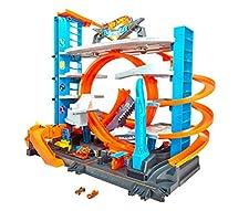 Hot Wheels Súper Megagaraje, garaje para coches de juguete (Mattel FTB69)
