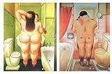 Set di 2quadri di Botero, su legno, motivo: bagno