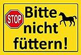 ComCard Bitte Nicht füttern! Pferd Stop Schild, Gelber Schild, Hinweis Schild Warnschild Schild aus Blech Tin Sign