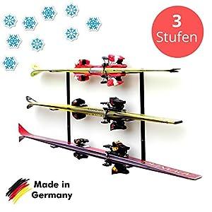 Skihalter | Wandhalterung Premium | 3 Ebenen | Beschichtete Skihalterung | Skiaufbewahrung | Richtige Lagerung an der Wand | Ordnungssystem für Garage/Keller | Ski-Zubehör | Inkl. Montagematerial