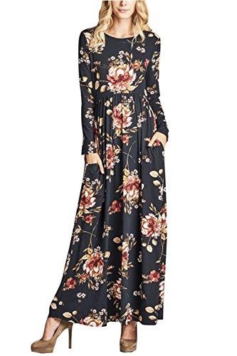 Winfon Femme Robe Longue Manche Longue Boheme Imprimé Fleurie Hiver Fluide Chic Robe de Soirée Cocktail Longue (Noir, M)