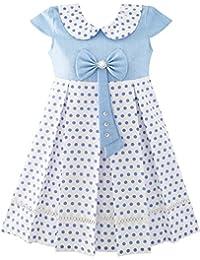 Mädchen Kleid Polka Punkt Schule Uniform Bogen Binden Perle Kappe Ärmel Gr. 98-158