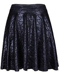 INIIM Mini-Jupe de Sirène Femme Brillant Imprimée Échelles de Poisson Jupes Basics Été Taille Haut S-4XL