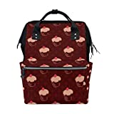 Coosun Cherry Cupcakes Polka Dots Rucksack Wickeltasche, große Kapazität muti-function Reise-Rucksack