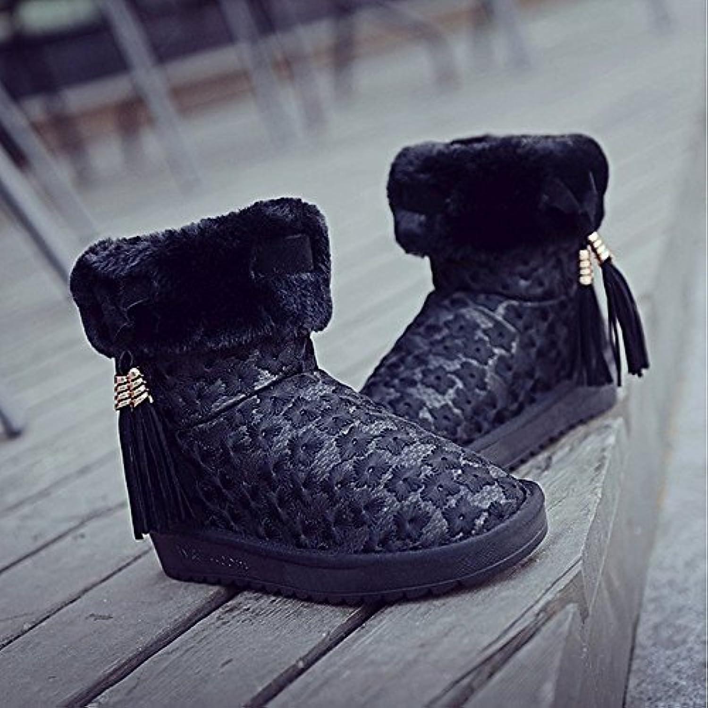 90db0589111489 zhznvx hsxz garnitures de fourrure d'hiver des chaussures de femmes femmes  femmes les bottes de ski talon plat réconfort cycle toe bottines ...