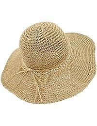 EASTPOLE Sombrero de paja de la playa de las mujeres del verano Sombrero de  paja ancho f6d73652e56