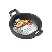 TableCraft CW30102 Cast Iron Round Mini Server, 7 oz, Black