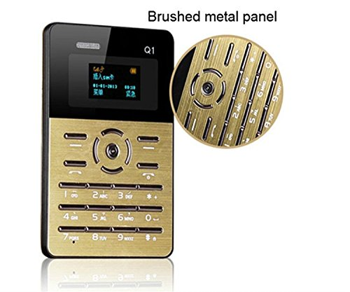 Q1 Mobile Phone Black - Tecoze Credit Card Size Phone World Smallest Phone - GOLD COLOUR