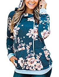 Angashion Damen Hoodies Langarm Kapuzenpullover-Blumenmuster Casual Sweatshirt Pullover Bluse Oberteile