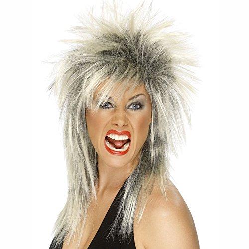 PARTY DISCOUNT NEU Perücke Rock Diva, schwarz-blond -