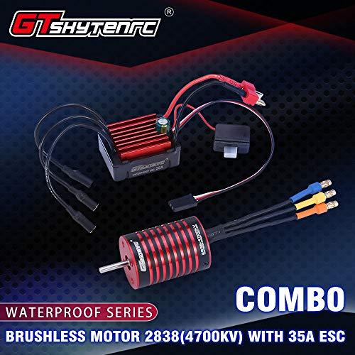 Ocamo GTSKYTENRC,Combo 2838 3700KV 4700KV Motore Brushless con 35A ESC per Traxxas HSP Tamiya Axial 1/16 1/12 RC Car