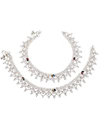 Fashion World Silver Plated With Multi-Colour Anklet For Girls & Women