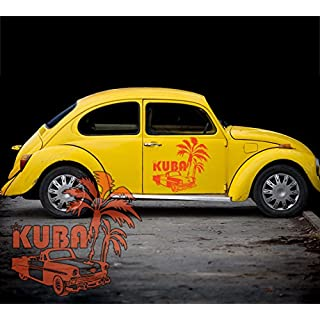 Autotattoos.kaufen Cuba Cuba Palm Tree Car Oldtimer Car sticker for car, Hortensienlila, 115,00 cm x 109,00 cm (GROSS)